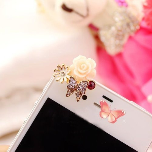 Brandbuy Earphone Jack Accessory Gold Plated 1Pcs Of Ultra-Luxury Full Czech Diamond Butterfly White Flower Dust Plug Ear Jack For Audio Headphone / Iphone 4 4S / Samsung Galaxy S2 S3 Note I9220 / Htc / Sony / Nokia / Motorola / Lg / Lenovo / Ipad / Ipod