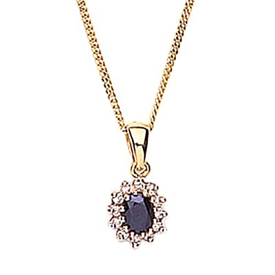 9ct Yellow Gold Diamond And Sapphire Pendant