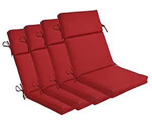 Bossima Indoor Outdoor Rust Red High Back Chair Cushion Set Of