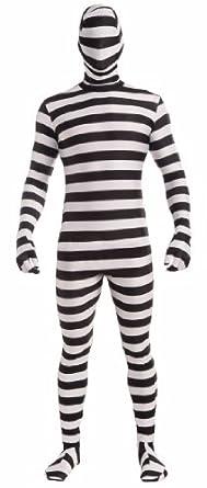Forum Novelties Women's Disappearing Man Patterned Stretch Body Suit Costume Prison Stripes, Black/White, Medium/Large