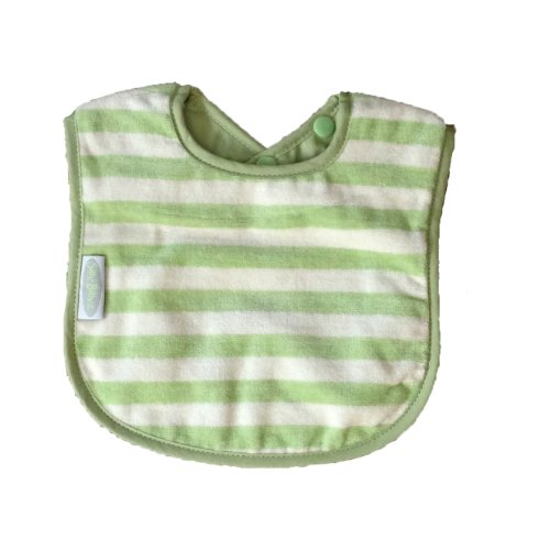 Silly Billyz Organic Cotton Bib, Sage Striped 3 mos - 3 yrs - 1