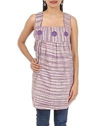 Rajrang Womens Khadi Purple And Grey Small Kurta