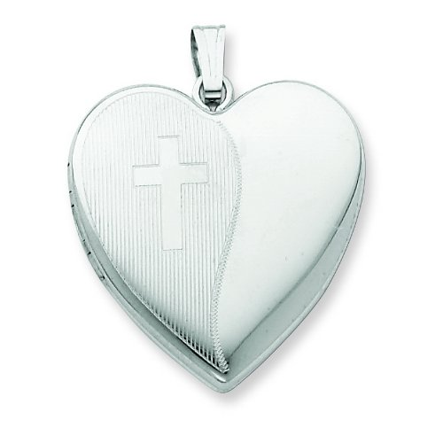 Sterling Silver 24mm with Cross Design Heart Locket.