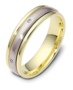Mens Platinum 18K Yellow Gold, Satin Domed 5MM Wed Band, .03 cttw