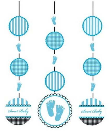 Creative Converting Sweet Baby Feet Blue Hanging Cutout Party Decorations, 3-Count