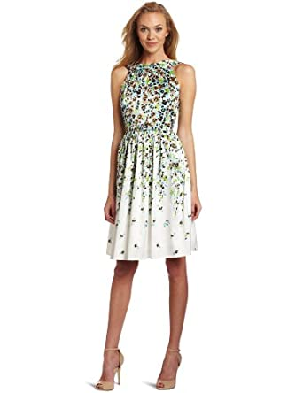 Jessica Howard Women's Belted Floral Dress, Blue/White, 6