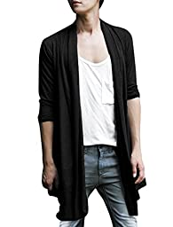 Allegra K Men Shawl Collar Front Opening Low-High Hem Long Cardigan Black L