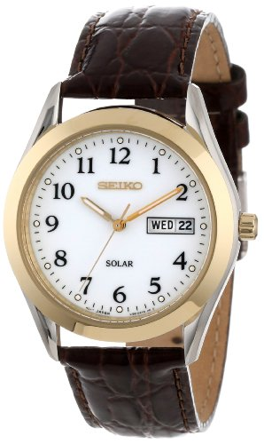 Seiko Men's SNE056 Stainless Steel Solar Watch with Leather Band