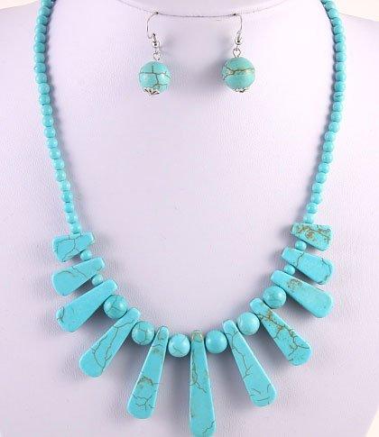 Gemstone Necklaces & Hook Earrings Set/ / Lead & Nickel Free / Lobster Claw Clasp /16