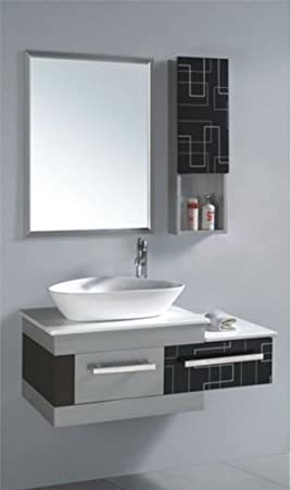 """California USA Modern 40"""" Cultured Marble Countertop Ceramic Sink Wall Mounted Stainless Steel Vanity - A035"""