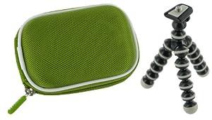 rooCASE 2n1 Nylon Hard Shell (Green) Memory Foam Carrying Case and Premium Tripod Kodak EasyShare M532 Digital Camera