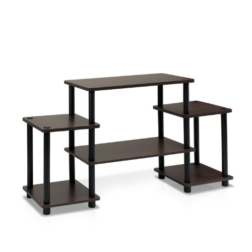 FURINNO 11257DBR/BK Turn-N-Tube No Tools Entertainment TV Stands