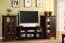Hot Sale Furniture of America Haydren 3-Piece Media Console and Pier Cabinet Set, Cherry Finish