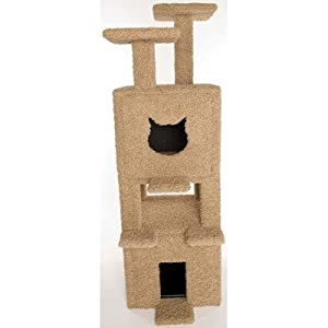 Two Story Double Platform Cat Condo and Litter Box Enclosure Slider: Carpet, Carpet Color: Beige, Door: Cat Face Shape / Cat Face Shape