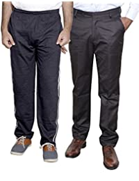 Indistar Mens Formal Trousers With Men's Premium Cotton Lower (Length Size -38) With 1 Zipper Pocket And 1 Open Pocket (Pack Of -1 Lower With 1 Trouser) - B01GEIOYIA