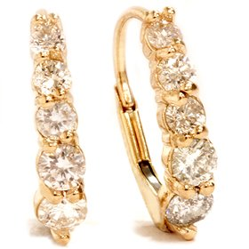 .75CT Diamond Hoops 14K Yellow Gold