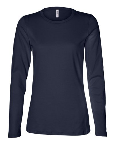 Bella Ladies Long Sleeve Crew Neck Jersey T-Shirt, Navy, Large front-882323