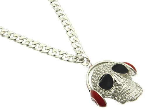 Red Link Headphones & Skull Necklace Fashion Jewelry Costume Jewelry Fashion Accessory Beautiful Charms