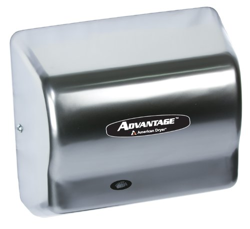 """American Dryer Ad90-Ssh Advantage Stainless Steel Standard Automatic Hair Dryer, #4 Brush Finish, 1/8 Hp Motor, 100-240V, 5-5/8"""" Length X 10-1/8"""" Width X 9-3/8"""" Height"""