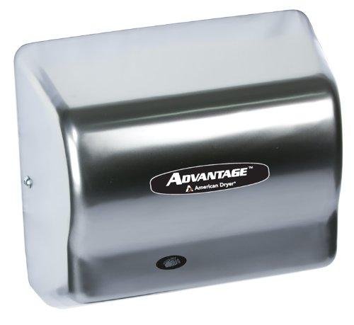 "American Dryer Ad90-C Advantage Steel Standard Automatic Hand Dryer, Satin Chrome Finish, 1/8 Hp Motor, 100-240V, 5-5/8"" Length X 10-1/8"" Width X 9-3/8"" Height"