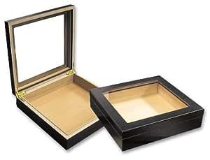 Prestige Import Group 20 Count Black Glasstop Cigar Humidor w/ Humidifier