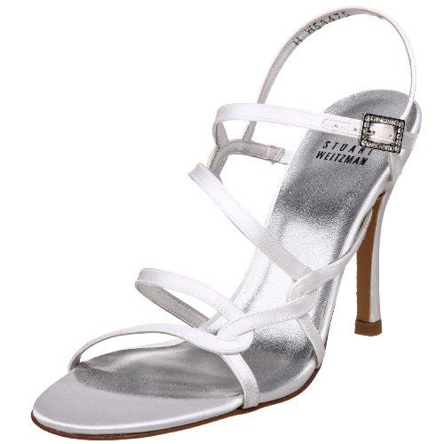Stuart Weitzman Women's Gloacrobat Strappy Sandal,White Satin,7 M US
