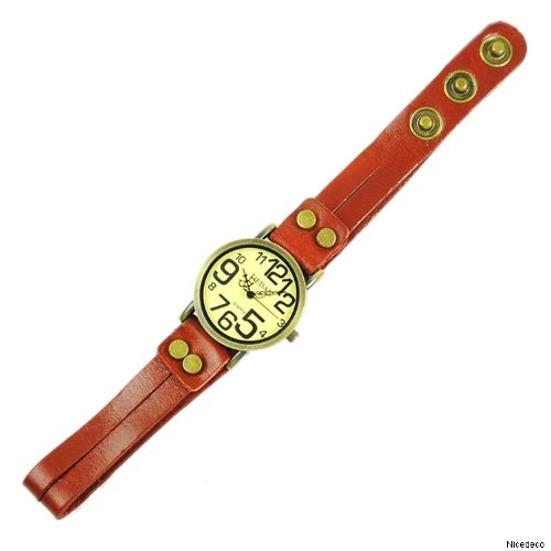 Nicedeco - Punk Style Large Roman Numbers Quartz Leather Wrist Watch,Women Watches With Beautiful Stones,Winered Band With Vintage Style Studs Rivets
