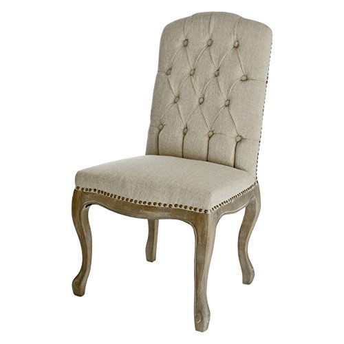 Best Selling Tufted Fabric Weathered Hardwood Dining Chair, Beige, Set of 2 0