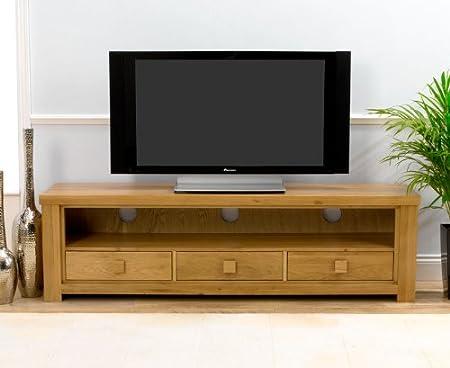 Dorset Solid Oak 3 drawer large tv unit stand