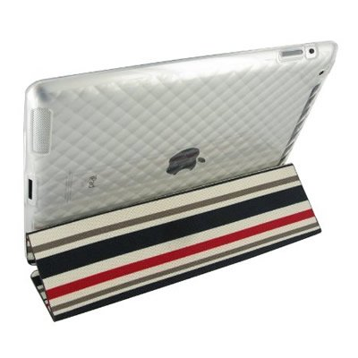 RED stripes TRI-PAD Canvas Flex With Gel Skin TPU CLEAR Design Sleeve Glove Soft Cover Case for APPLE IPAD 2 [WCD281]