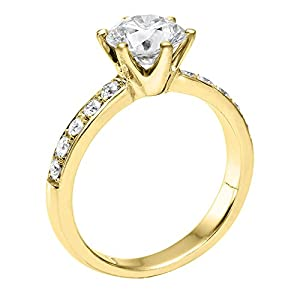 GIA Certified 14k yellow-gold Round Cut Diamond Engagement Ring (1.87 cttw, J Color, VS1 Clarity)