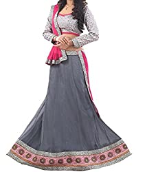 Look Smart Women's Lehenga Choli (SARGAM GREY_Multicolor_)