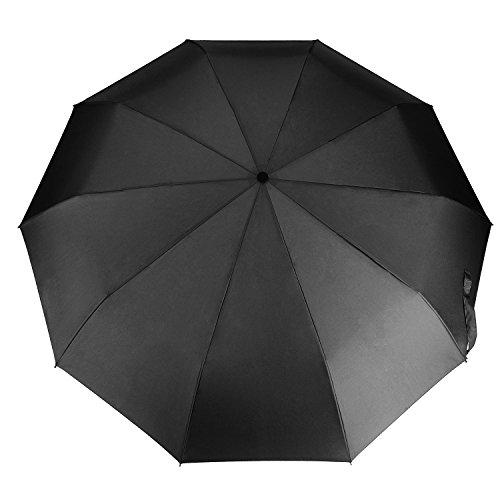 Niksa® 高強度 グラスファイバー骨 10骨傘 折りたたみ傘 晴雨兼用 頑丈高強度の安全傘 直径102cm 2色 (ブラック)