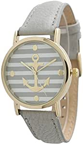 OrangeTag Women's Striped Anchor Style Leather Watch - Grey