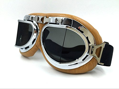Vintage Aviator Pilot Goggles for Cruiser Chopper Motorcycle Scooter ATV Adult(Grey) 0