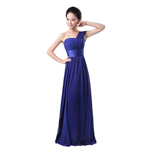 Win8Fong Long One Shoulder Wedding Bridesmaid Prom Ball Chiffon Evening Dress (M, Sapphire Blue)