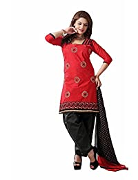 AASRI Party Wear Cotton Embroidered 3 Piece Unstitched Salwar Suit 6003