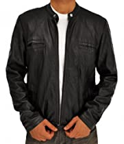 Zac Efron OBLOW Real Leather Jacket - 17 Again Movie Stylish Outerwear (M)