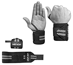 Wrist Wraps For Crossfit, Powerlifting, Weightlifting, Bodybuilding, Exercise, Fitness - Unisex - Protect Wrists and Increase PRs - 100% Money Back Guarantee - Lifetime Warranty (Black)