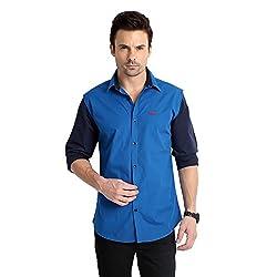 RODID Men's Cotton Solid Casual Shirt Deep Blue_RS16A0DB-L