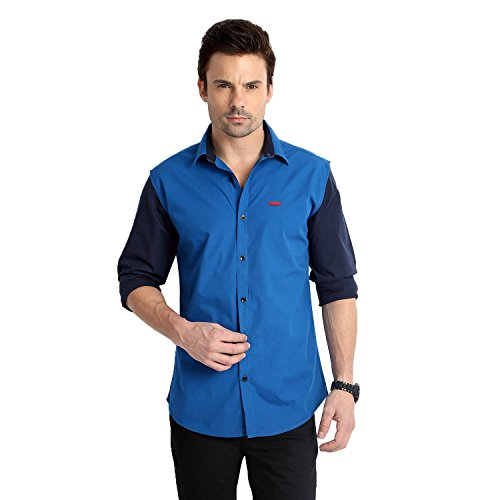 RODID Men\'s Cotton Solid Casual Shirt Deep Blue_RS16A0DB-L