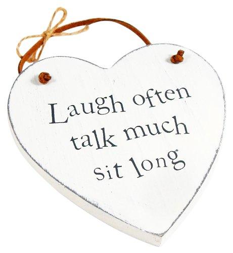 Heartwarmers Wooden Heart Keepsake Gift Sign/ Plaque, Laugh Often