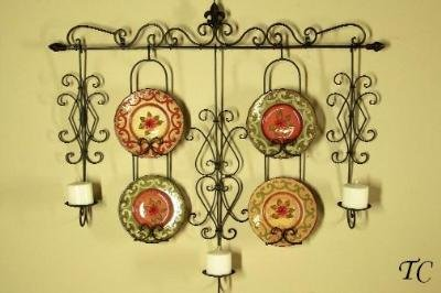 Tuscan Wrought Iron Wall Candle / Plate Holder Rack