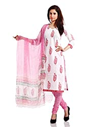 Pinkshink Womens Cotton Unstitched Dress Material (Psk36 _White)