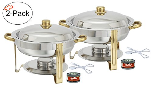 Tiger Chef 2-Pack 4 Quart Round Chafing Dish Buffet Warmer Set, Gold Accented Chafer, Includes Free Chafing Fuel Gel and Plastic Serving Tongs