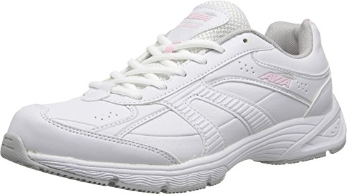 AVIA Women's Strike Walking Shoe, White/Baby Doll Pink/Vapor Grey, 9.5 M US