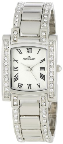 AK Anne Klein Women's 10-7127SVSV Swarovski? Crystal Accented Silver-Tone Watch