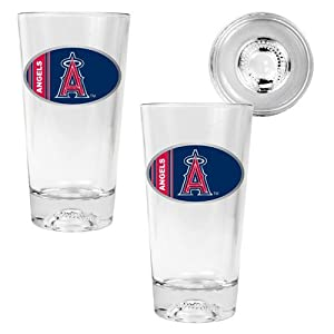 MLB Los Angeles Angels Two Piece Pint Ale Glass Set with Baseball Bottom - Oval Logo by Great American Products