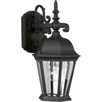 Forte Lighting 1744-01-04 Traditional 1 Light Exterior Wall Lantern, Black Finish with Clear Beveled Glass