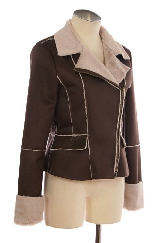G2 Chic Women's Faux Fur Lined Suede Jacket